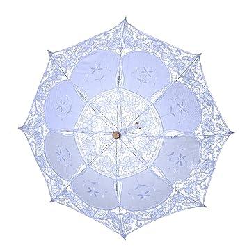 LUOEM Blanco de la boda del paraguas del parasol de la boda paraguas de la novia