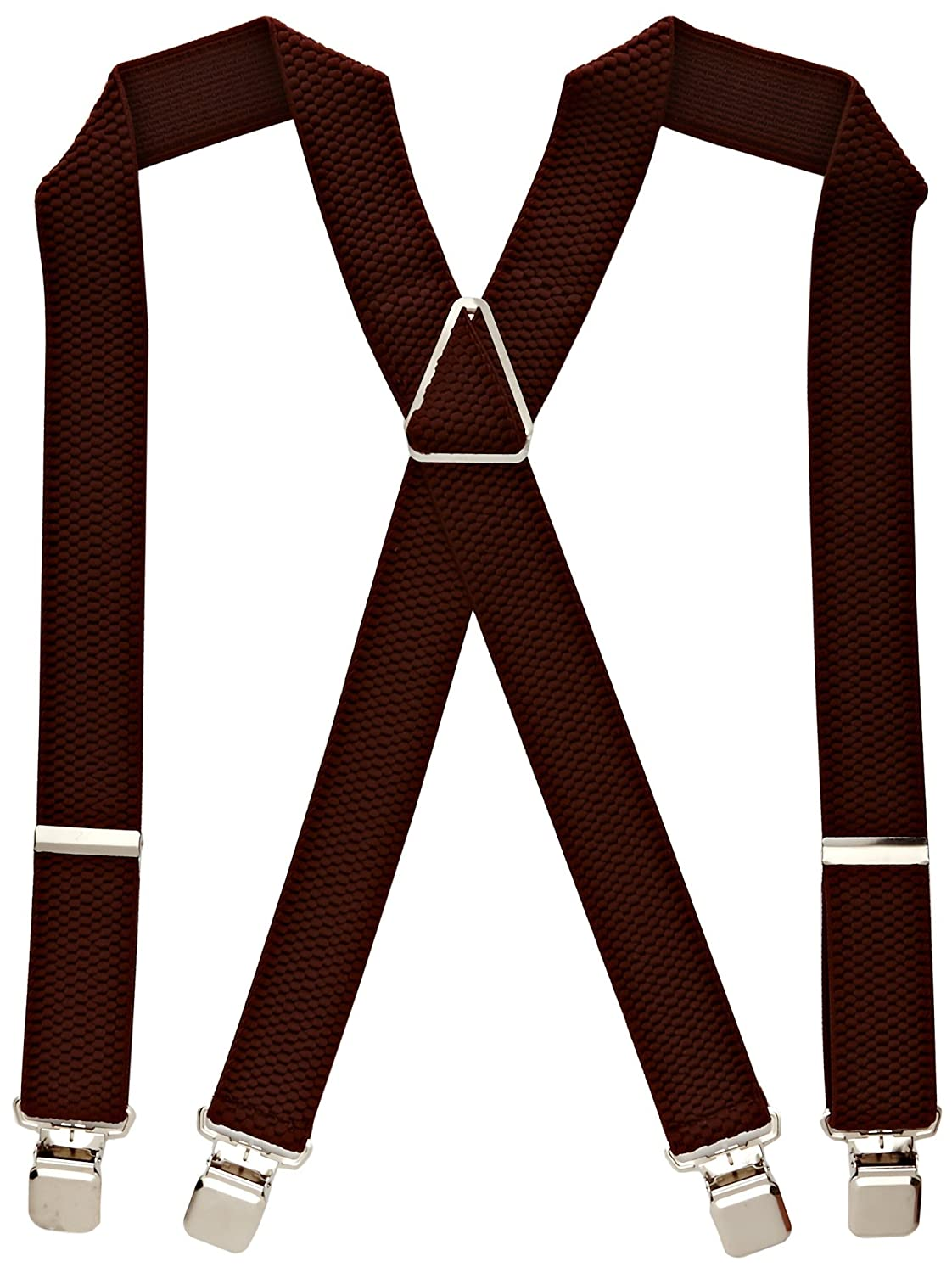 Heavy Duty Classic X-Shape Braces/Suspenders with Extra Strong Clips, 4cm 4cm - Brown BRACESN-brown
