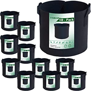 3 Gallon 10-Pack Grow Bags Ultra-Green 3 gal Thichkened Non-Woven Aeration Planter Fabric Pot with Handles for Vegetables, Potato, Flowers, Tomato, Eggplant and Fruits (10 Pack)