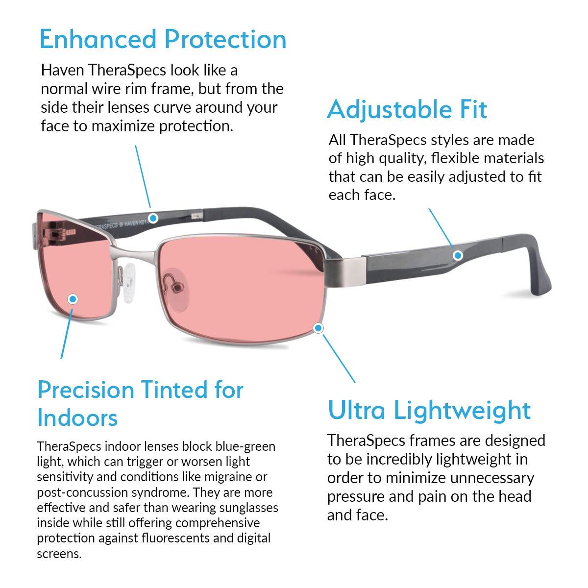e9187eea4485 Amazon.com  TheraSpecs Haven Migraine Glasses for Light Sensitivity ...