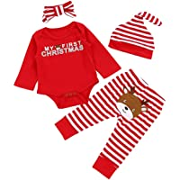 Christmas 4Pcs Outfit Set Baby Girls Boys My First Christmas Rompers (6-9 Months, Red)