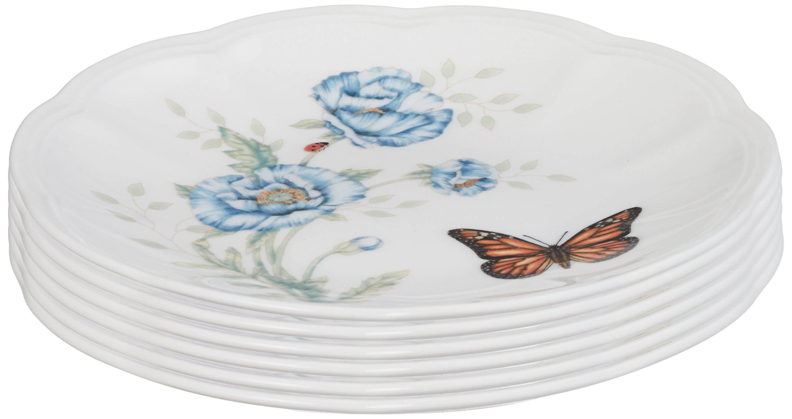 Set of 6 lenox butterfly meadow party plates dinnerware for Table 6 lenox