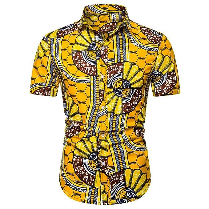Vectry Verano De Los Hombres Hawaiano Impreso Camisa De ...
