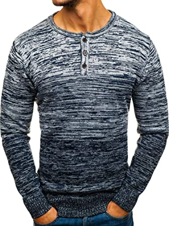 Mens Knitted Jumper Sweater Long Sleeve Slim Fit Pullover Winter Knitwear Tops