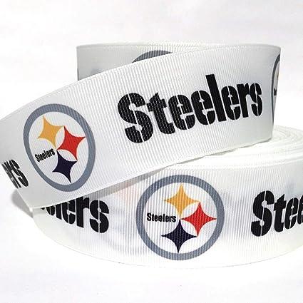 "By The Yard 1/"" White Steelers Football Grosgrain Ribbon Lisa"