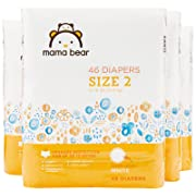 Amazon Brand - Mama Bear Diapers Size 2, 184 Count, White Print (4 packs of 46)