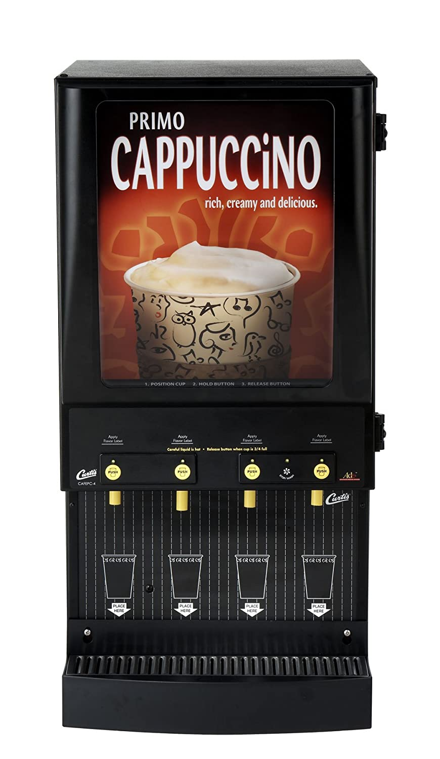 Wilbur Curtis Café Primo Cappuccino with Lightbox 4 Station Cappuccino (4 Lb Hoppers) - Commercial Cappuccino Machine - CAFEPC4CL10000 (Each)