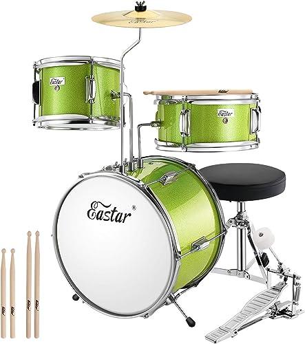 Eastar EDS-180G 14 inch 3-Piece Kids/Junior Drum Set with Throne, Cymbal, Pedal & Drumsticks,Metallic Green