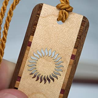 product image for Sun - Solar Flare Cut Out Engraved Wooden Bookmark with Tassel