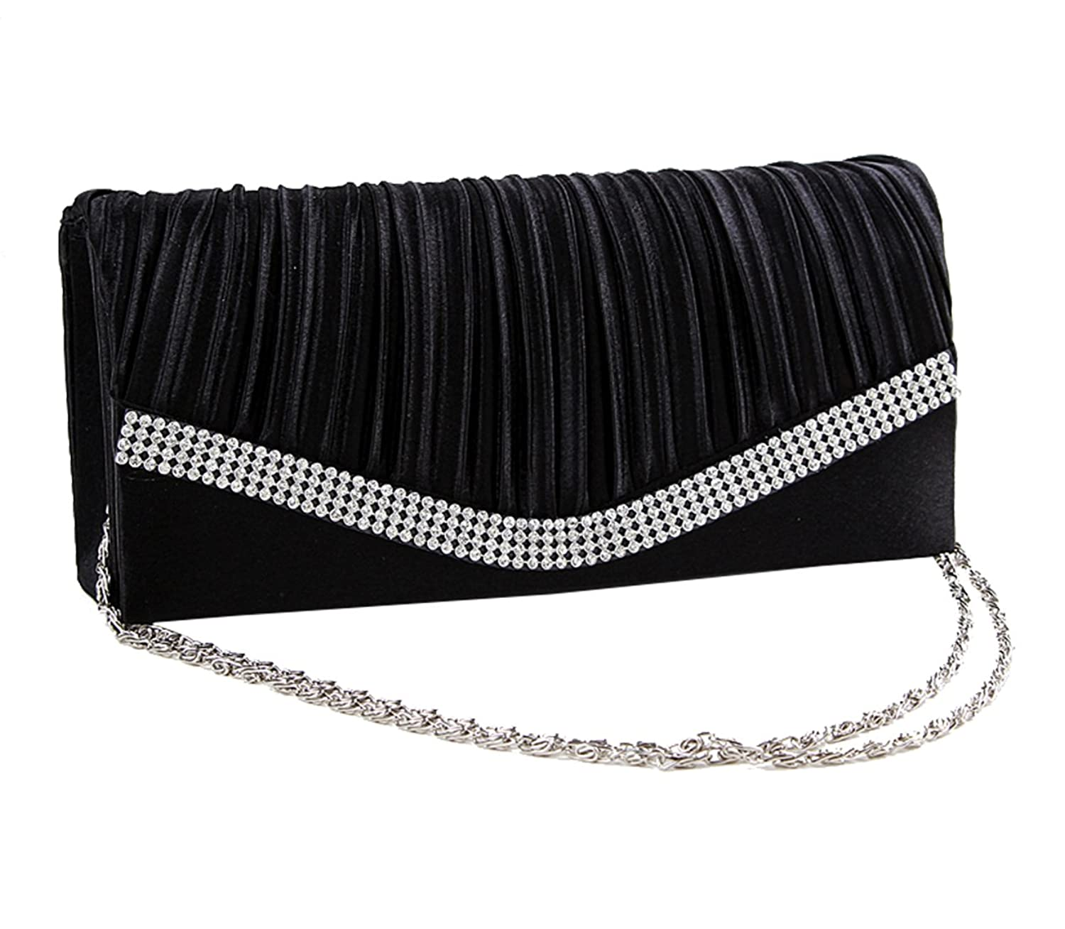 DG Collection Ladies Pleated Satin Flap Clutch With Crystals Back to School Party