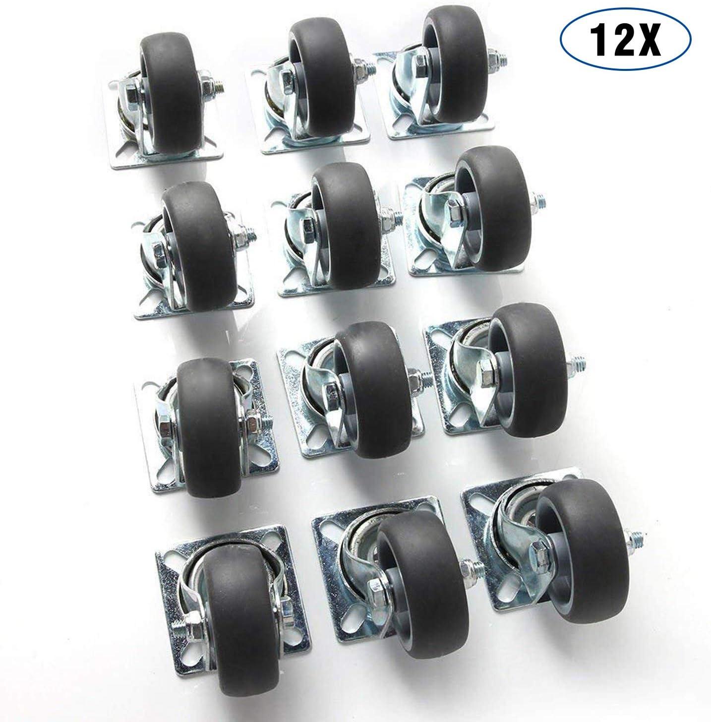Ruedas de transporte Speed de 12 x 50mm. Ruedas para cargas pesadas (40kg rueda). De polipropileno, chapa de acero galvanizado, color gris claro