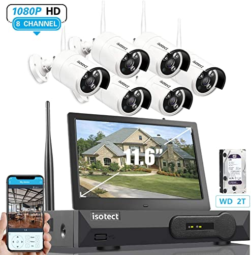 2020 Newest Wireless Security Camera System with Monitor, ISOTECT 8CH Full HD 1080P Video Security System, 6pcs Outdoor Indoor IP Security Cameras, 65ft Night Vision and Easy Remote View, 2TB HDD