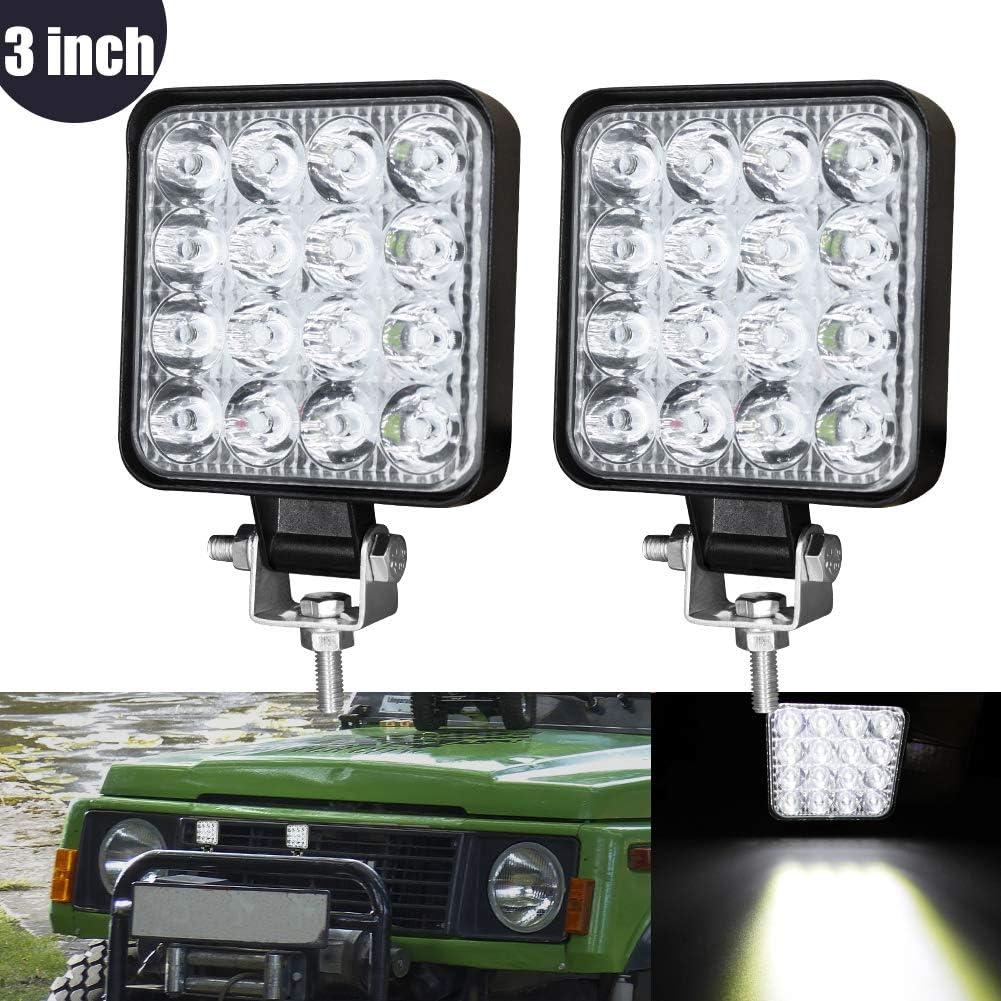 3 Inch Mini Foco Led Tractor,48W Focos de Coche LED Potentes 12V 24V Faros Trabajo LED Adicionales Coche Luz de Niebla luz Auxiliar Moto para Moto Offroad Tractor SUV Camión Barco 2pcs