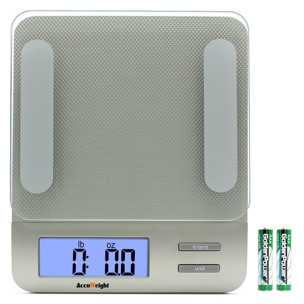 Accuweight Digital Multifunction Kitchen and Food Scale, 11lb/5kg Capacity by 0.1oz/1g, Tempered Glass Platform, Blue Backlit LCD, Silver 207