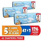 Sanita Bambi Baby Diaper Giant pack, X-Large,13-25kg, (84 + 42 free) Count