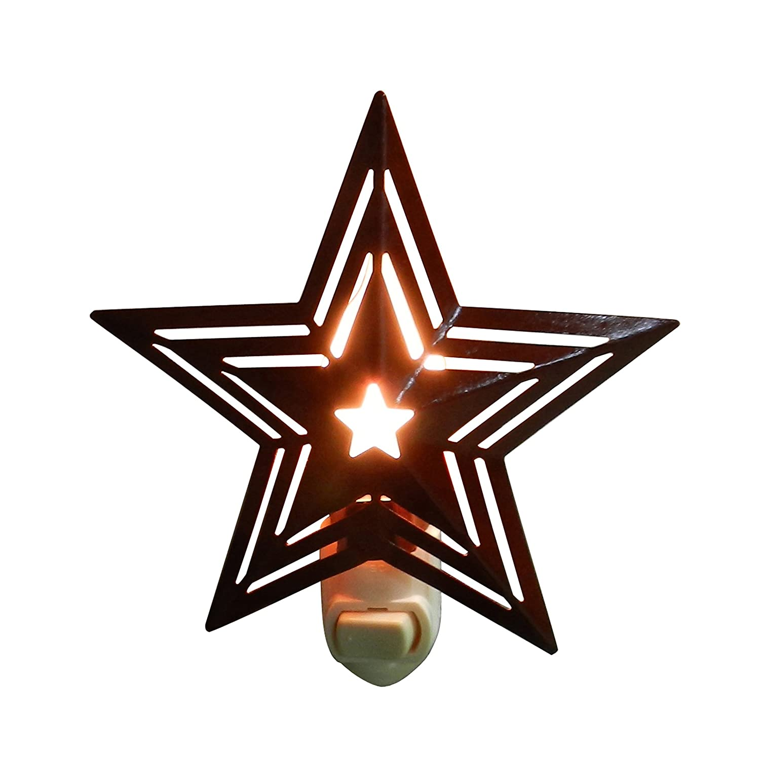 cvhomedeco。BurgundyパンチTin Barn Star with Stripes Electric Night Light、7ワットシリコンCandle Bulb Included、2のセット。 B07196P3Z8