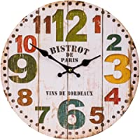 Home Decor Clock, Colorful Retro Arabic Numerals Style,Silent Non -Ticking Quartz Wooden Wall Clock, Large Wall Art Decorative for Kitchen,Living Room and Coffee Decor (14 Inch, Colorful Number)