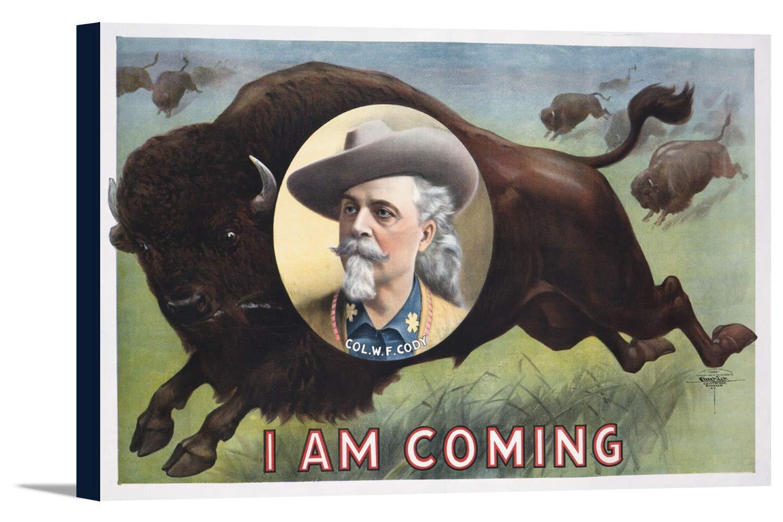 バッファロービル – Col W F Cody – I Am Comingビンテージポスターアメリカ 36 x 24 Gallery Canvas LANT-3P-SC-58079-24x36 36 x 24 Gallery Canvas  B0184B1ZN2