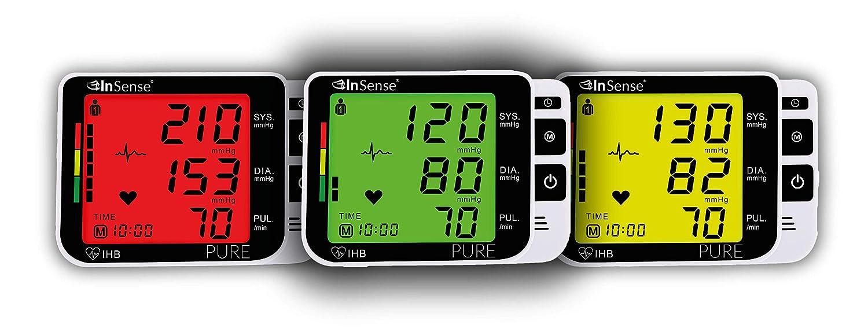 InSense PURE Tensiómetro de brazo Monitoree automáticamente la medición con una pantalla LCD digital Estuche portátil para presión arterial Detector de ...