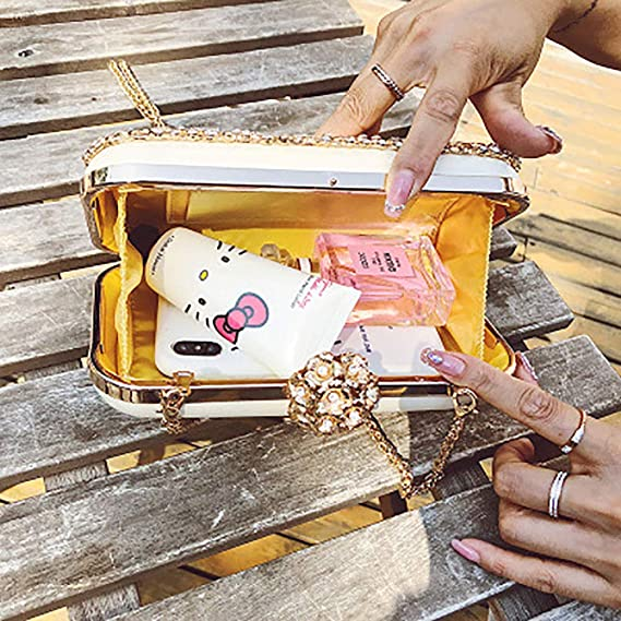 SHMILY Bolso De Mujer De Alto Grado Tachonado De Diamantes Mano Que Sostiene La Bolsa De La Cena Hombro De Cadena Personalizado Adosado,Gold: Amazon.es: ...