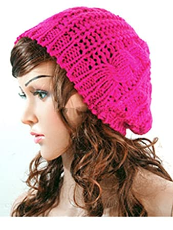 8d58d6ec36797 Image Unavailable. Image not available for. Color  Fashion Winter Women  Lady Beret Braided Baggy Beanie Crochet Knitting Hat Cap ...