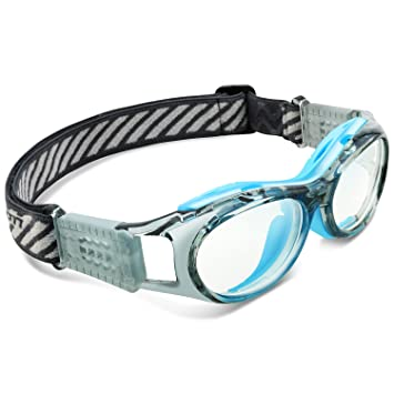 36887425d7 Ponosoon Sports goggles for KIDS for basketball football volleyball 853 ( Transparent Grey with Blue)  Amazon.co.uk  Sports   Outdoors