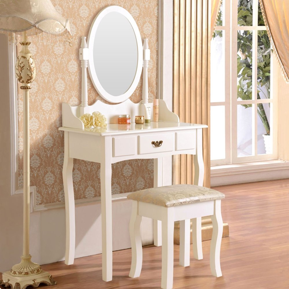 Mefeir Princess Dressing Table Stool with Mirror, Gloss Bedroom Vanity Wooden Set, Girl Small Makeup Seat Saving Room Compact (1 Drawers Set, White)