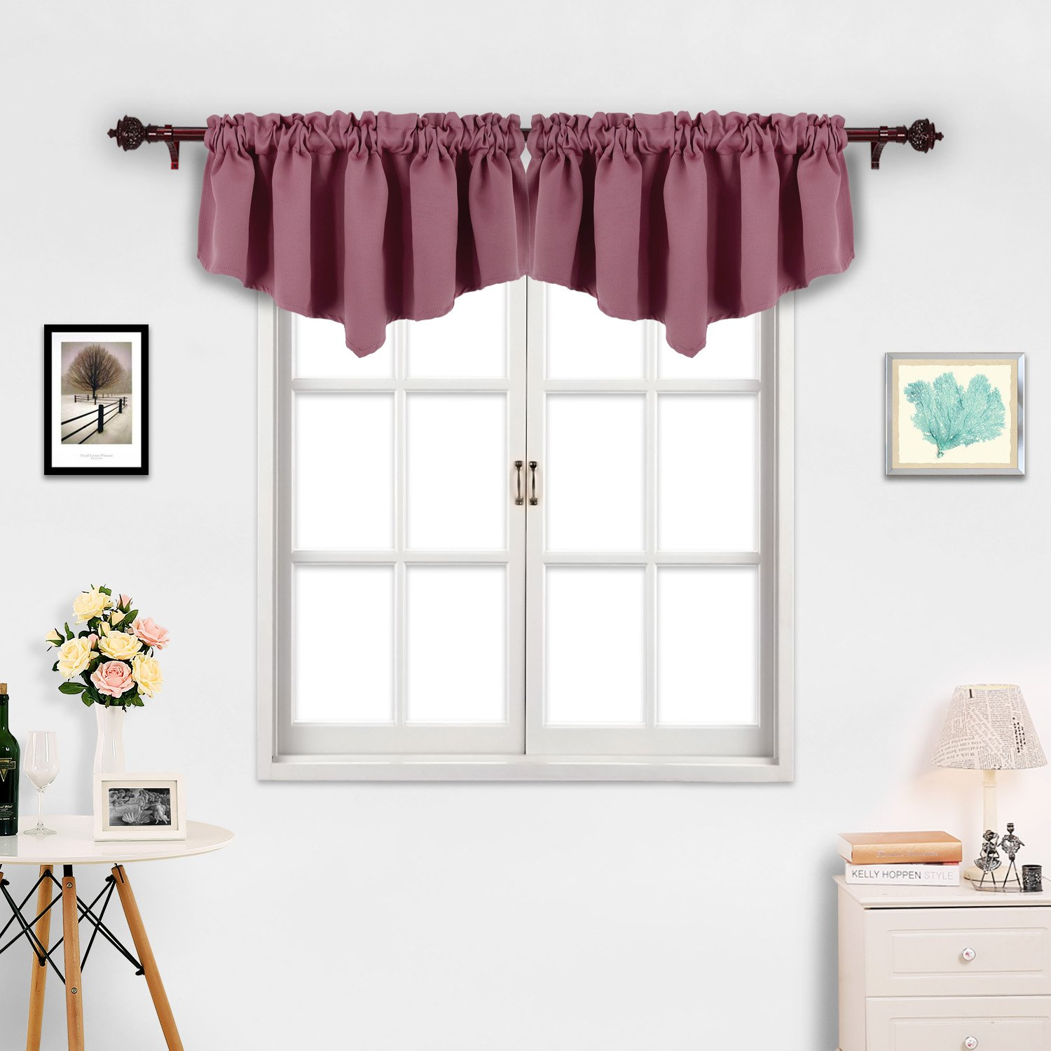 Deconovo Solid Textured Embossed Rod Pocket Blackout Valance Curtains (52x18 Inch-1 pcs, Dry Rose)