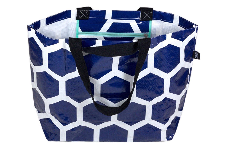 Stylish Beach Swim Bag Lightweight Practical Medium Carry-all Tote Bag Anchor Blue Hexagon 2002