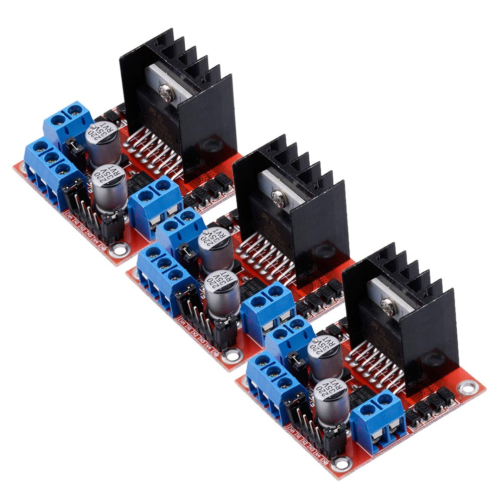Yakamoz Pack of 3Pcs L298N Motor Drive Controller Board DC Dual H-Bridge Robot Stepper Motor Control and Drives Module for Arduino Smart Car