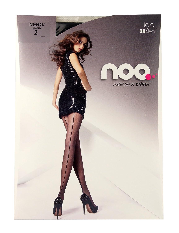 color negro mate y beige Leotardos para mujer con costura en la parte trasera de la pierna Knittex Iga