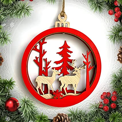 feileng large wooden 3d elk christmas ball pendant christmas hanging decor christmas decoration - Large Wooden Christmas Decorations