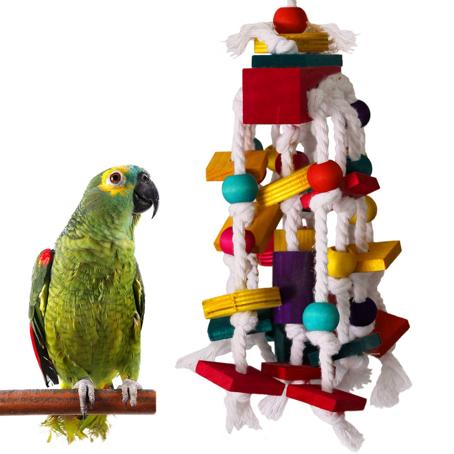 RYPET Bird Chewing Toy - Parrot Cage Bite Toys Wooden Block Bird Parrot Toys for Small and Medium Parrots and Birds by RYPET