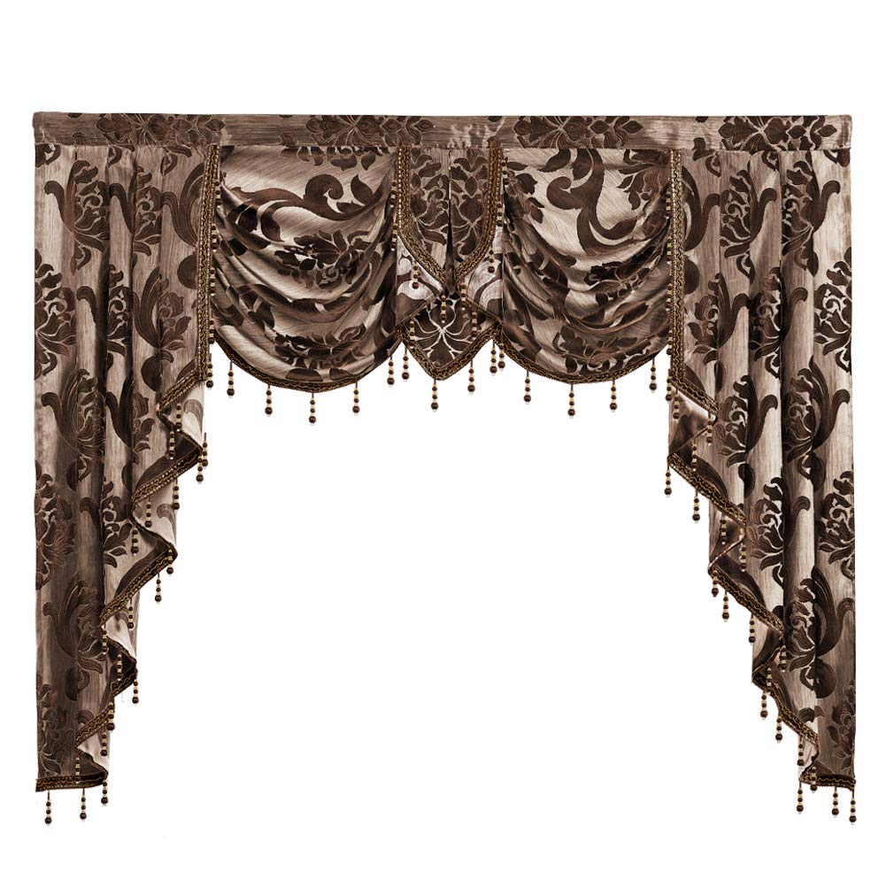 NAPEARL European Style Luxury Waterfall Valance Living Room Window Decoration (1 Valance 61''Wx49''L, Brown) by NAPEARL