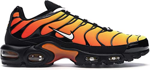 orange and black air max plus