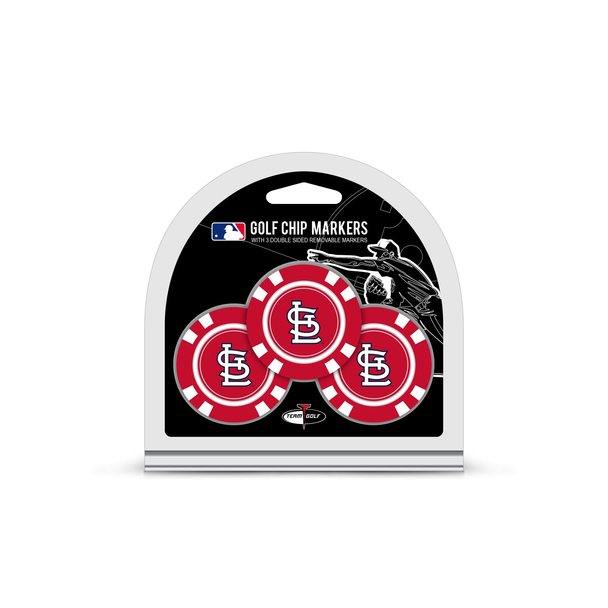 Team Golf MLB St Louis Cardinals Golf Chip Ball Markers (3 Count), Poker Chip Size with Pop Out Smaller Double-Sided Enamel Markers