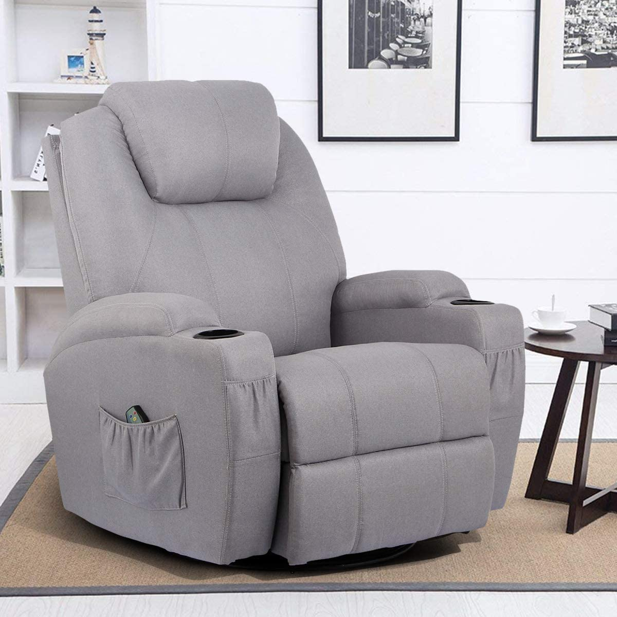 Esright Grey Fabric Massage Recliner Chair 360° Swivel Heated Ergonomic Lounge Reclining Chair