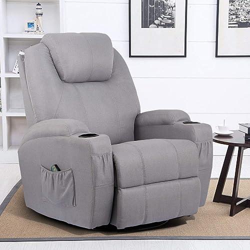Esright Grey Fabric Massage Recliner Chair 360 Swivel Heated Ergonomic Lounge Reclining Chair