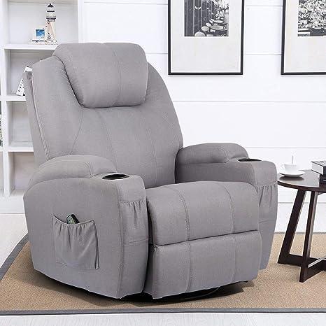 Pleasant Esright Grey Fabric Massage Recliner Chair 360 Degree Swivel Heated Ergonomic Lounge Machost Co Dining Chair Design Ideas Machostcouk