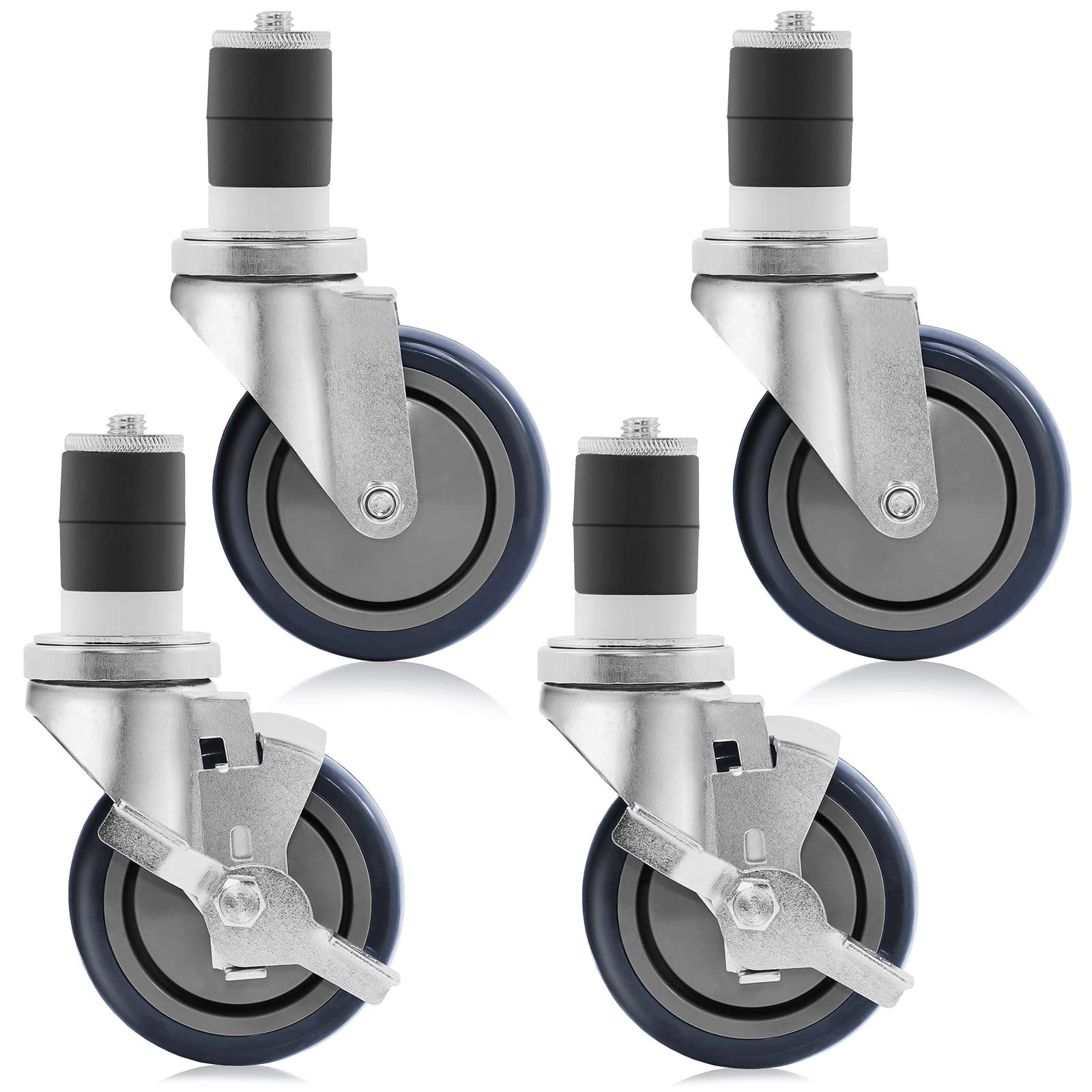 GRIDMANN 4 inch Caster Wheel Set for Commercial Kitchen Prep Tables, 2 Wheels with Brakes, 2 Without Brakes by GRIDMANN