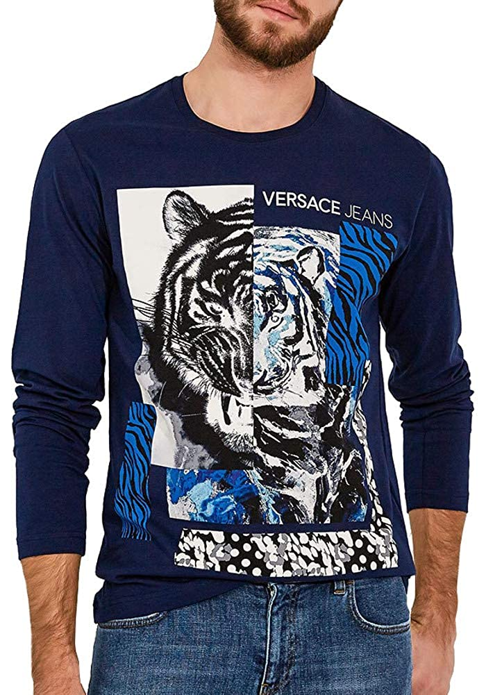 Versace Jeans Tiger Collage Logo Long Sleeve Tee, Navy ($189)