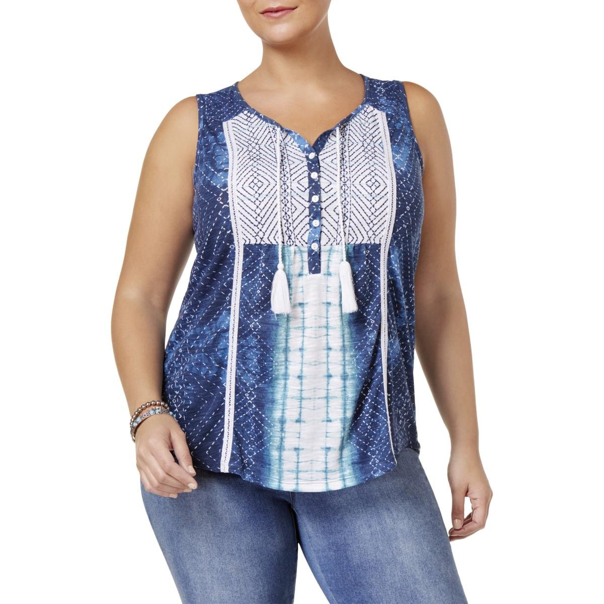 Style & Co. Womens Plus Embroidered Printed Peasant Top Blue 3X