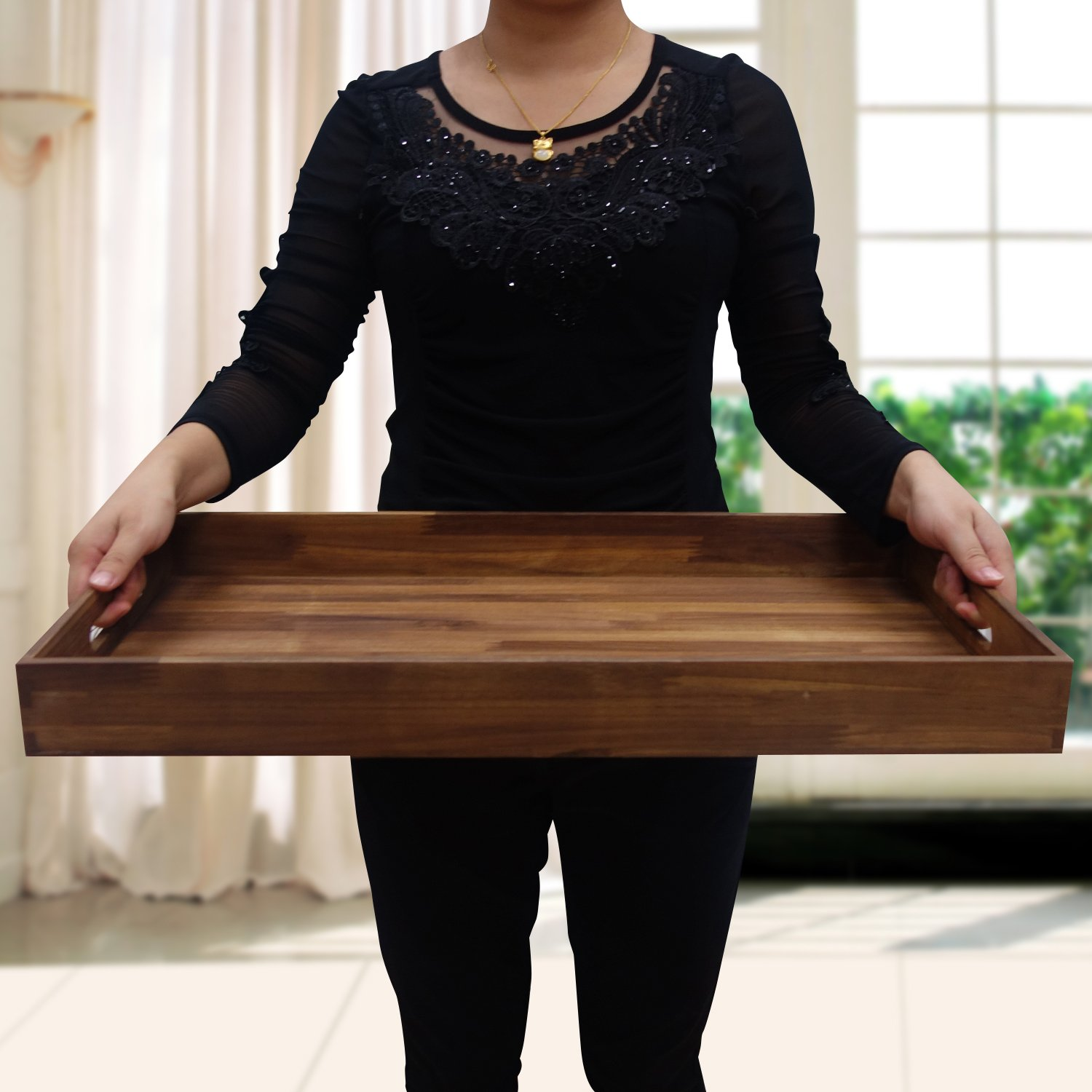 Details About Glitz Star Square Ottoman Tray Teak Wood Serving Tray Extra Large24 X 13 Inch