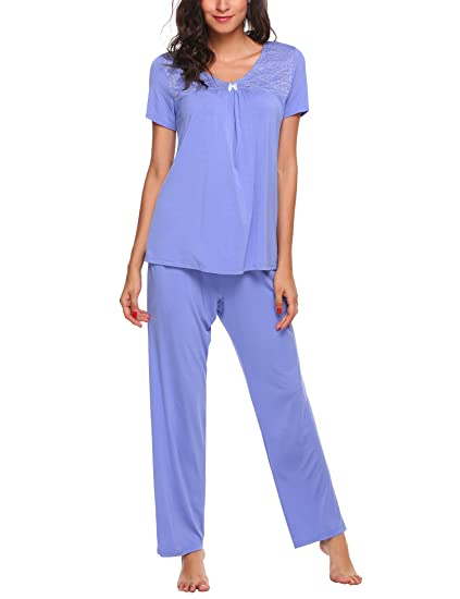 ff87829642 Ekouaer Sleepwear for Women Short Sleeve Shirt and Lounge Pants Pj Set