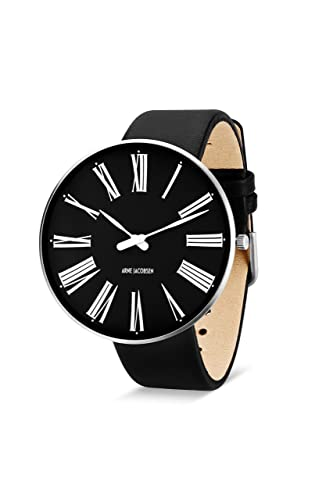 Arne Jacobsen Unisex Quartz Watch with Black Dial Analogue Display and  Black Leather Strap 53306