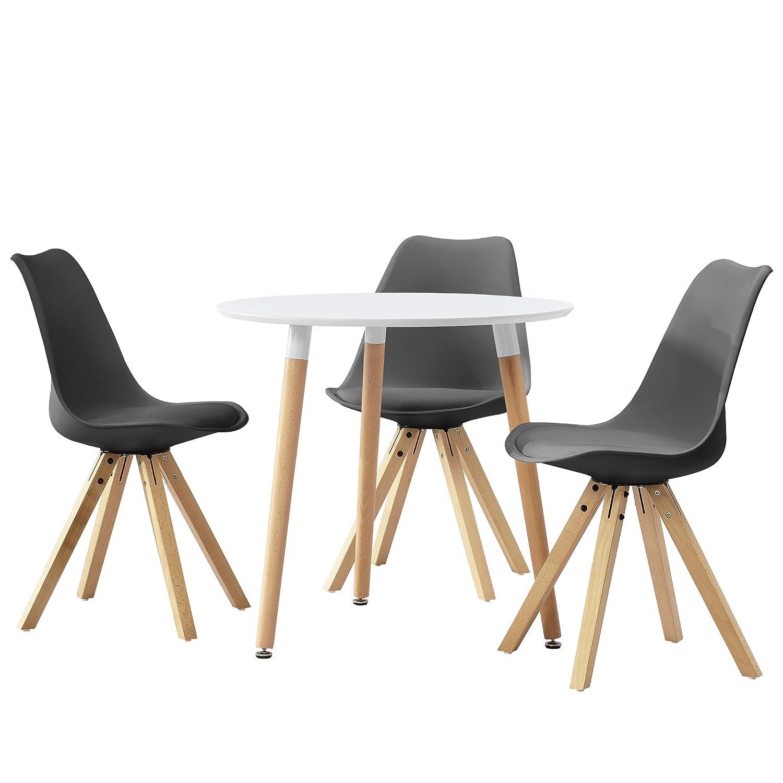 [en.casa] Tavolo da prenzo tondo bianco [Ø80cm] con 3 sedie biance imbottite sala da pranzo set cucina