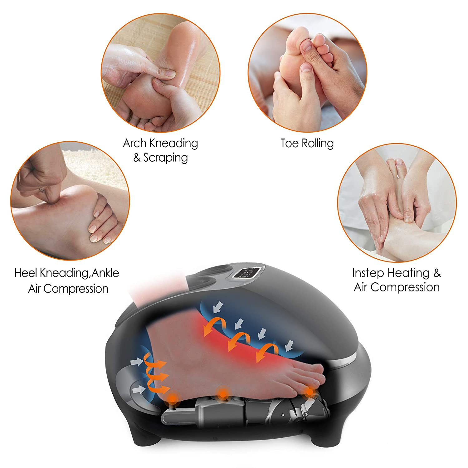 Snailax Shiatsu Foot Massager with Heat – Electric Foot Massage Machine with Air Compression Rolling Kneading Massage and Foot Warmer, Ideal Gifts for Men and Women