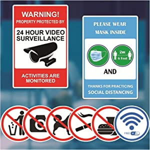 LOKAUS Business Stickers Kit, Social Distance Sign Sticker, Video Surveillance Sign Sticker, No Pets Allowed Sign Sticker, No Smoking Sticker, No Food or Drink Sign, No Photography. (Combo, Logos)