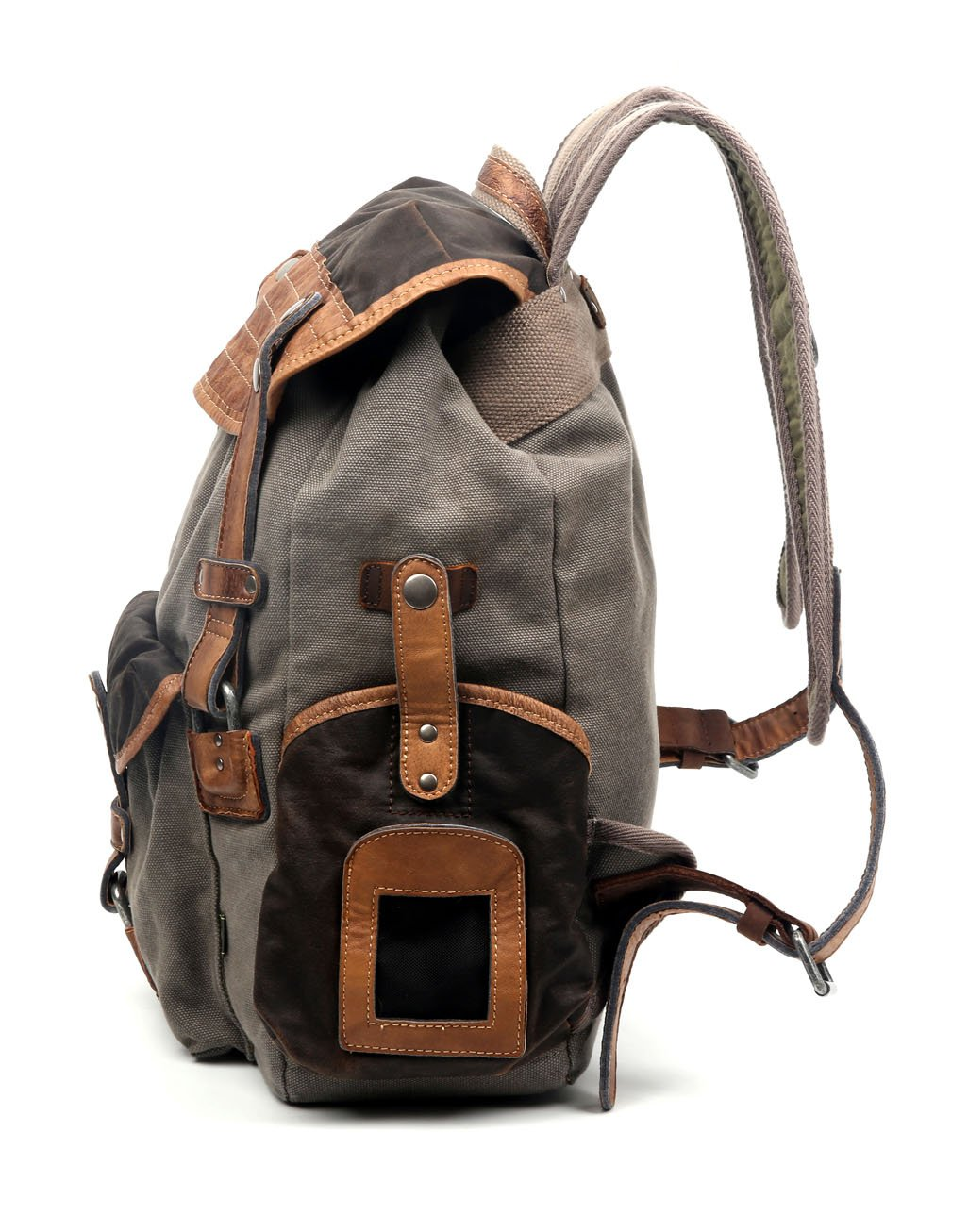Grey The Same Direction Tapa Two Tone Canvas Backpack Leather and Canvas Bag