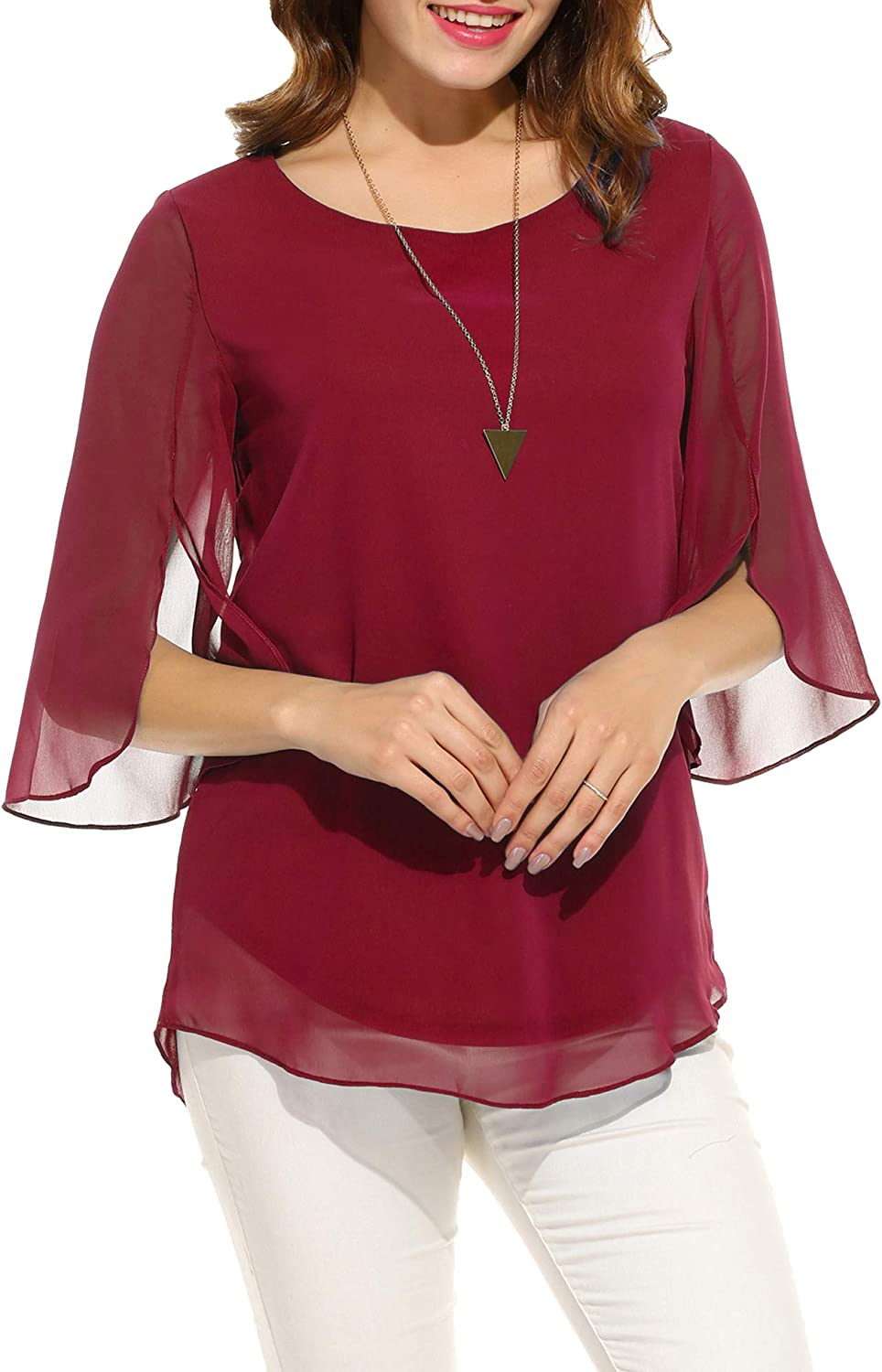 ACEVOG Womens Casual Scoop Neck Loose Top 3/4 Sleeve Chiffon Blouse Shirt Tops: Clothing